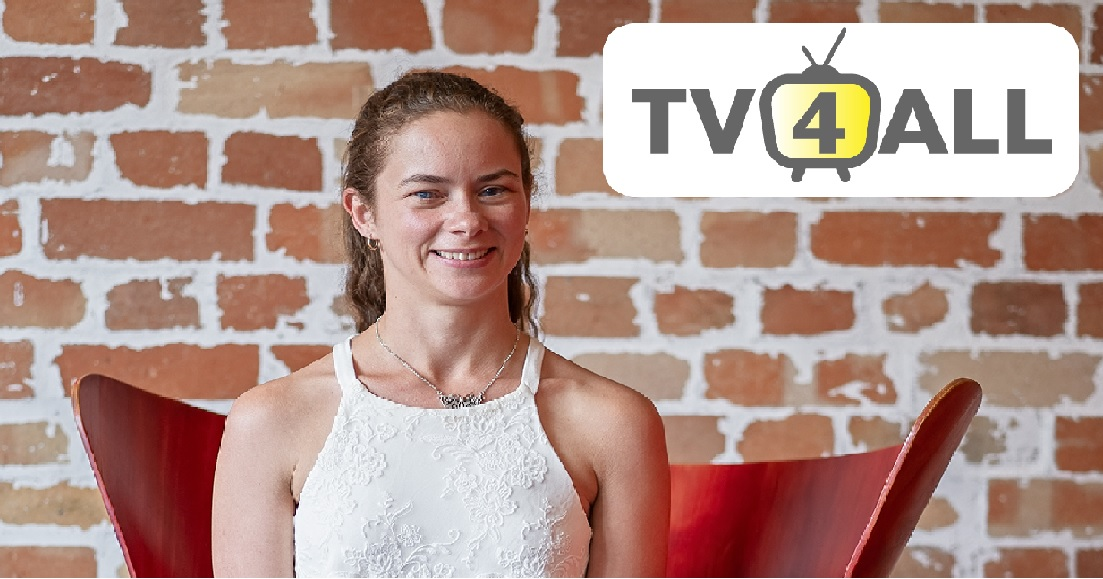 """Image of a young woman wearing white seated in front of a brick wall, text reads """"TV 4 All"""""""